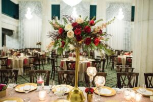 Red, White & Green Floral Arrangement on Table