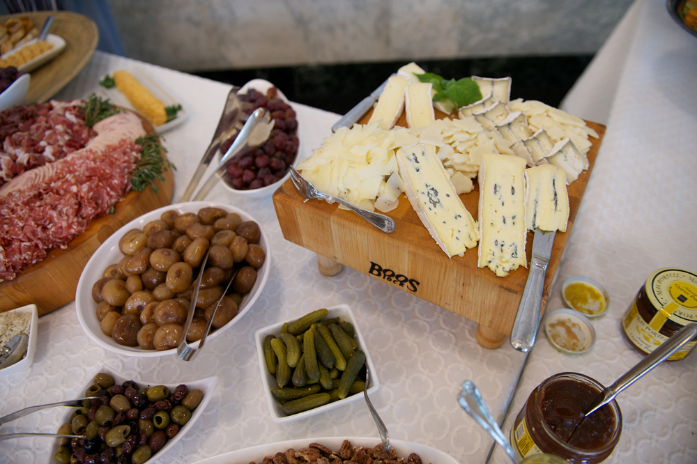 Appetizer Spread on White Tablecloth