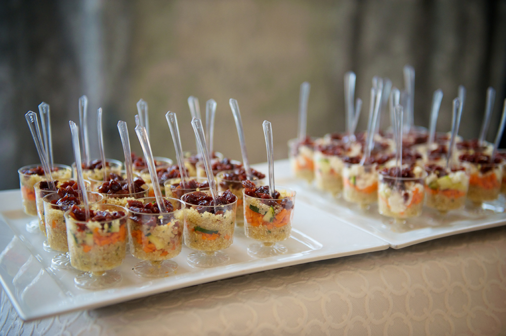 Appetizers in Individual Glass Serving Dishes with Utensils