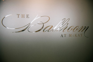 The Ballroom at McKay frosted logo graphic on window