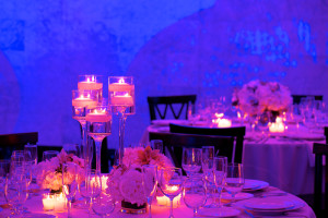 Staggered Tea Candles with Blue and Purple Background