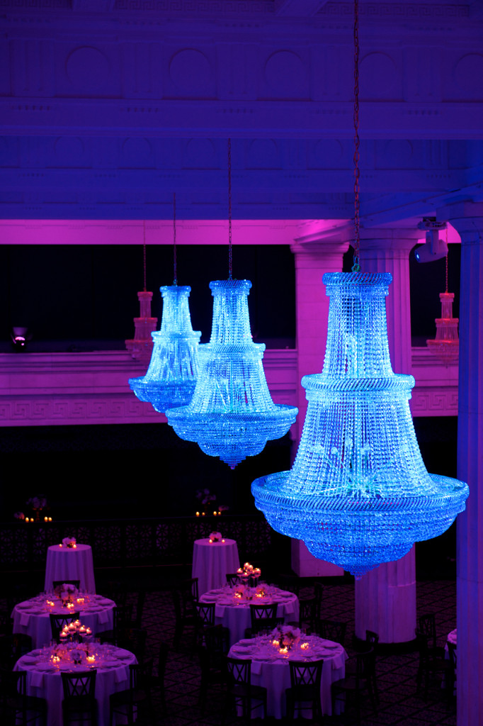 Three Bright Blue Crystal Chandeliers in Ballroom at McKay