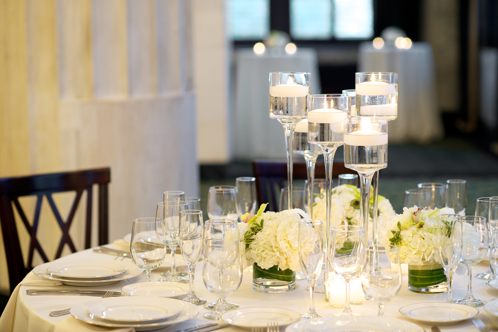 Candles with Stemmed Glass Holders and Place Settings