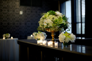 Black Bartop with Candles and Green Flowers
