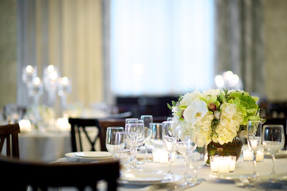 Macro Focus of Wine Glasses on Table