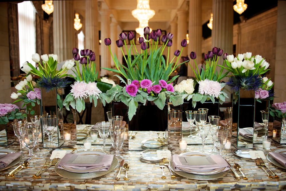 Purple & Pink Floral Arrangement and Place Settings