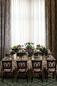 Rectangle Table with Purple & Pink Flowers