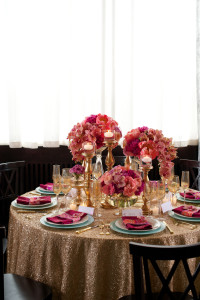 Place Settings for Wedding Guests, Pink Napkins & Flowers