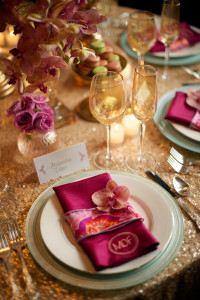Close Up of Pink and Gold Wedding Place Setting
