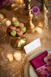 Green and Pink Macarons at Wedding Table