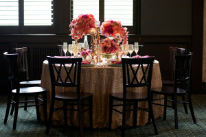 Backlit Table Decorations with Pink and Gold Flowers
