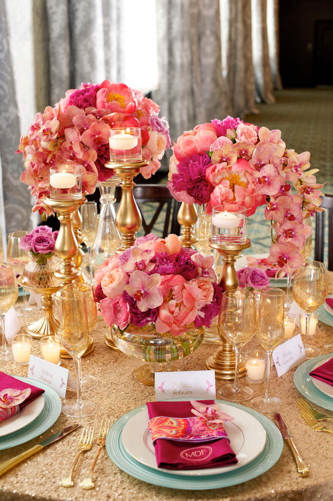Flowers, Pink Shades, Gold Tablecloth & Decorations