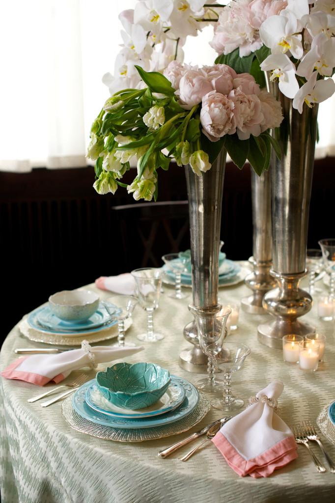 Soft Wedding Theme with Blue Cups and Pink Flowers