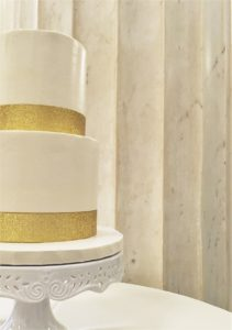 Ballroom at McKay Wedding Venue with Gold & White Cake