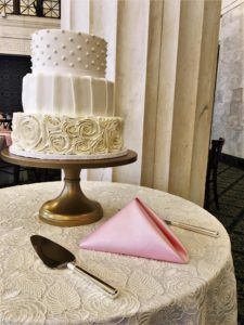 Wedding Cake with Pink Napkin at Ballroom at McKay