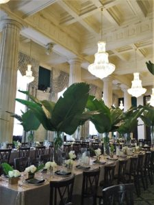 Wedding Layout with Green Leaves